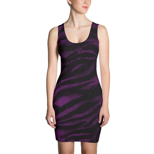 Tiger Striped Animal Print Women's Sleeveless Royal Purple Tank Dress - Made in USA/EU-Women's Sleeveless Dress-XS-Heidi Kimura Art LLC