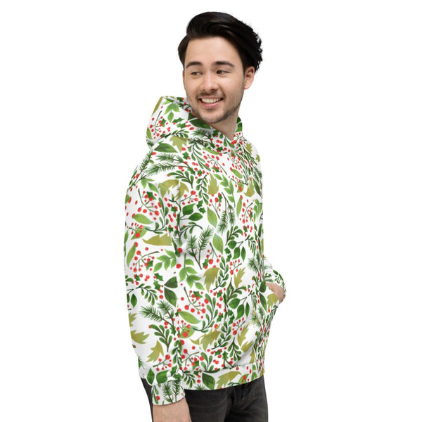 Christmas White Green Winter Floral Print Women's Unisex Hoodie- Made in Europe-Women's Hoodie-Heidi Kimura Art LLC
