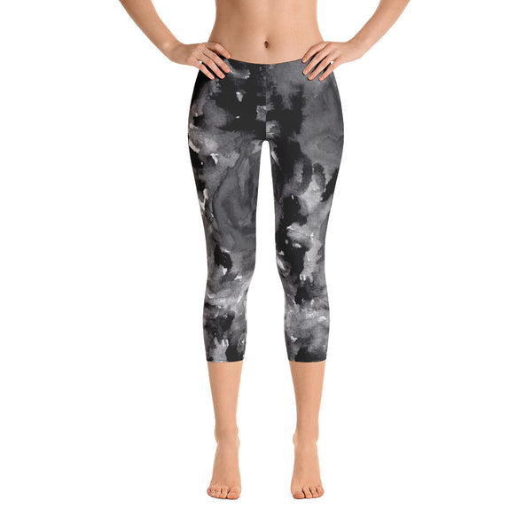Gray Rose Floral Capri Leggings, Designer Capris Casual Tights Activewear - Made in USA-capri leggings-Heidi Kimura Art LLC