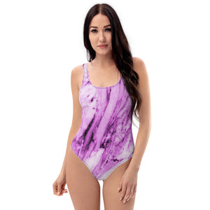 Pink Marble One-Piece Swimsuit, Women's Marble Print Designer Swimwear-Made in USA/EU-Heidi Kimura Art LLC-XS-Heidi Kimura Art LLC