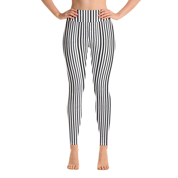 Black White Vertical Stripes Women's Long Stretchy Yoga Leggings Pants- Made in USA/EU-Leggings-Heidi Kimura Art LLC Black Vertical Stripes Women's Leggings, Black White Vertical Stripes Print Premium Women's Active Wear Fitted Leggings Sports Long Yoga & Barre Pants, Sportswear, Gym Clothes, Workout Pants - Made in USA/ EU (US Size: XS-XL)