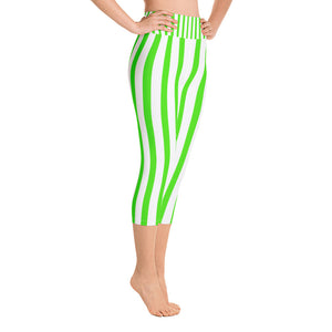 Lime Green White Vertical Striped Print Women's Yoga Capri Pants Leggings - Heidi Kimura Art LLC