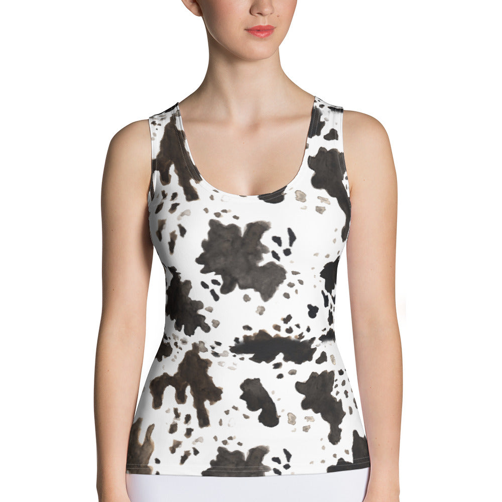 Cow Print Comfy Stretchy Soft Crew Neck Fitted Women's Tank Top, Made in USA-Tank Top-XS-Heidi Kimura Art LLC