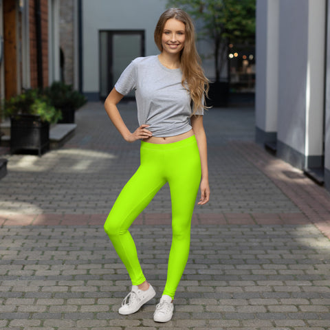 Neon Green Women's Leggings, Solid Color Modern Minimalist Women's Long Dressy Casual Fashion Leggings/ Running Tights - Made in USA/ EU (US Size: XS-XL)