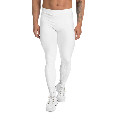 White Solid Color Men's Leggings, Premium Modern Minimalist Meggings-Made in USA/EU-Heidi Kimura Art LLC-XS-Heidi Kimura Art LLC White Solid Color Meggings, Modern Minimalist Solid Color Print Premium Classic Elastic Comfy Men's Leggings Fitted Tights Pants - Made in USA/EU (US Size: XS-3XL) Spandex Meggings Men's Workout Gym Tights Leggings, Compression Tights, Kinky Fetish Men Pants