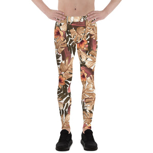 Orange Brown Tropical Palm Leaf Men's Skinny Compression Tights-Made in USA/EU-Men's Leggings-XS-Heidi Kimura Art LLC Orange Brown Tropical Meggings, Orange Brown Tropical Palm Leaf Men's Skinny Compression Running Tights Meggings Leggings-Made in USA/EU (US Size: XS-3XL)