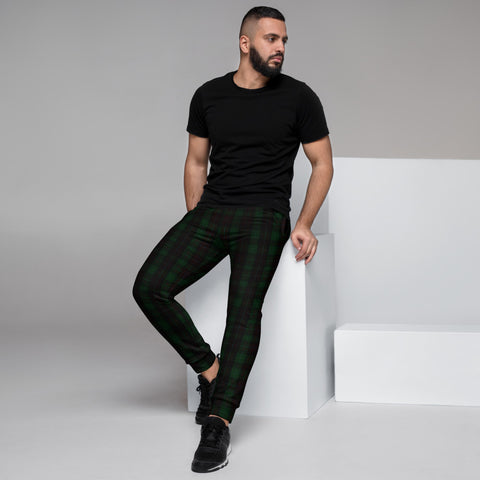 Dark Green Plaid Men's Joggers, Tartan Print Designer Ultra Soft & Comfortable Men's Joggers, Men's Jogger Pants-Made in EU (US Size: XS-3XL)