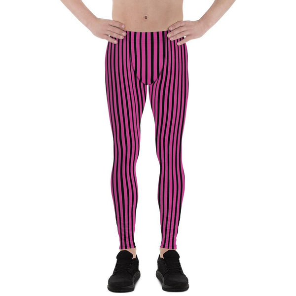 Hot Pink Black Stripe Print Premium Men's Circus Carnival Leggings Pants - Made in USA-Men's Leggings-XS-Heidi Kimura Art LLC