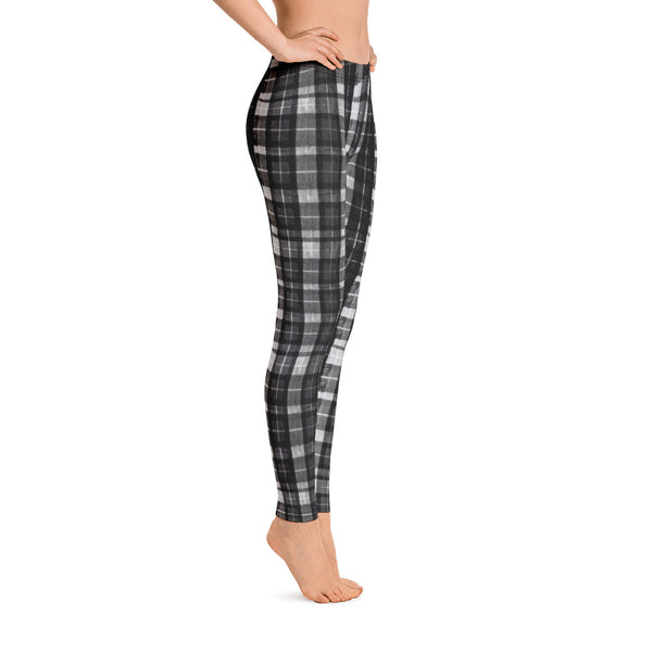 Black Plaid Print Women's Long Dressy Casual Leggings/ Running Tights-Made in USA/EU-Casual Leggings-Heidi Kimura Art LLC