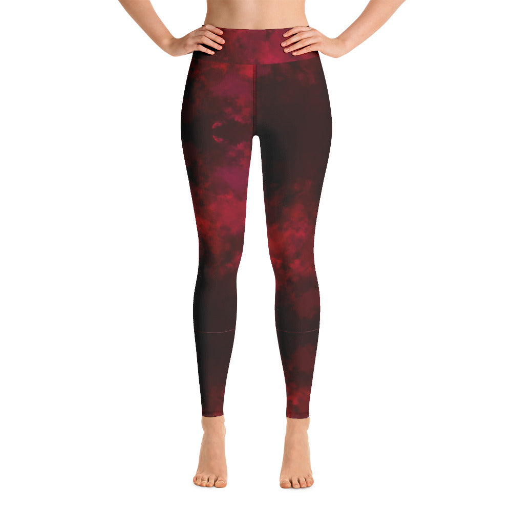 Red Abstract Long Yoga Leggings-Heidikimurart Limited -XS-Heidi Kimura Art LLC Red Abstract Long Yoga Leggings, Modern Women's Gym Workout Active Wear Fitted Leggings Sports Long Yoga & Barre Pants - Made in USA/EU/MX (US Size: XS-6XL)