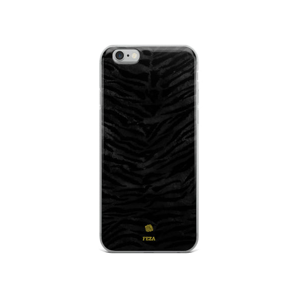 Black Tiger Striped Animal Print Pattern Custom Name iPhone Case, Made in USA/ Europe-Phone Case-iPhone 6/6s-Heidi Kimura Art LLC