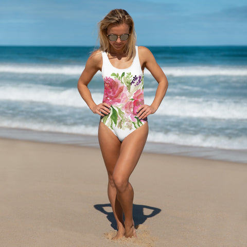 Pink Floral Women's Swimwear, Luxury Rose One-Piece Swimsuit-Made in USA/EU-Heidi Kimura Art LLC-XS-Heidi Kimura Art LLC Pink Floral Women's Swimwear, White Pink Floral Print Women's Luxury 1-Piece Swimwear Bathing Suits, Beach Wear - Made in USA/EU (US Size: XS-3XL) Plus Size Available