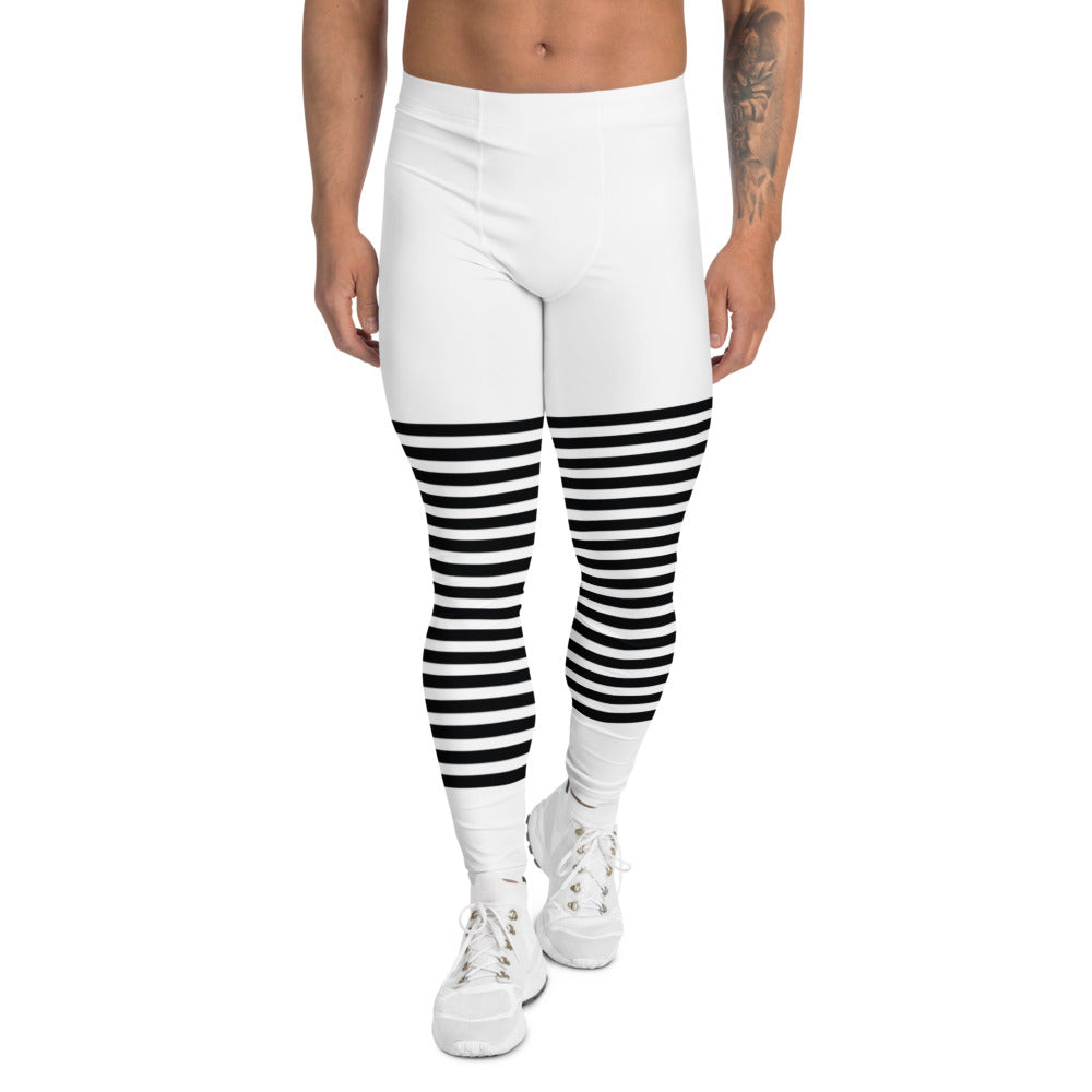 Classic Modern Striped Men's Leggings, Best Meggings For Men-Made in USA/EU-Heidikimurart Limited -XS-Heidi Kimura Art LLC