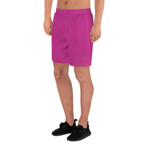 Hot Pink Solid Color Print Premium Men's Athletic Long Shorts- Made in Europe-Men's Long Shorts-Heidi Kimura Art LLC