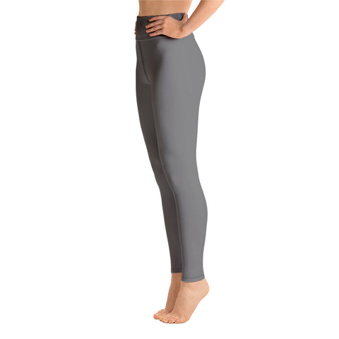 Women's Gray Solid Color Active Wear Fitted Leggings Sports Long Yoga & Barre Pants - Made in USA-Leggings-Heidi Kimura Art LLC Gray Women's Yoga Pants, Women's Gray Solid Color Active Wear Fitted Leggings Sports Long Yoga & Barre Pants - Made in USA (XS-6XL)
