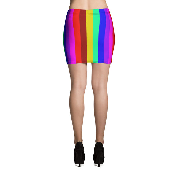 Rainbow Striped Women's Mini Skirt, Gay Pride Festival Print Mini Skirt-Made in USA/EU-Mini Skirt-Heidi Kimura Art LLC