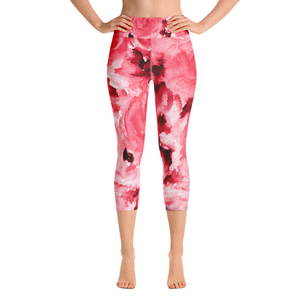 Passionate Red Rose Floral Print Capri Leggings Women's Yoga Pants - Made in USA-Capri Yoga Pants-XS-Heidi Kimura Art LLC