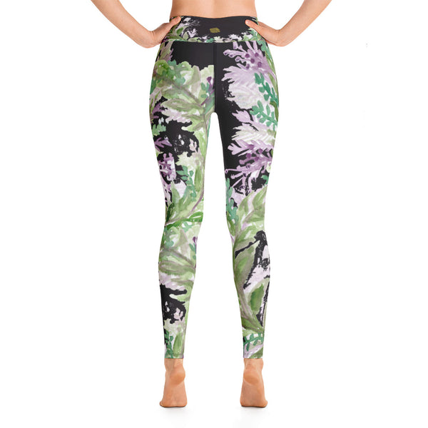 French Lavender Floral Purple Spandex Yoga Leggings/ Long Yoga Pants-Made in USA-Leggings-Heidi Kimura Art LLC French Lavender Floral Leggings, Floral Lavender Print Purple Spandex Yoga Leggings/ Long Yoga Pants - Made in USA/EU (US Size: XS-XL)