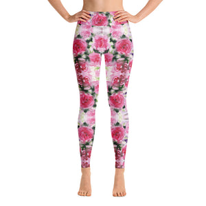 Pink Rose Women's Yoga Leggings-Heidikimurart Limited -XS-Heidi Kimura Art LLC Pink Rose Women's Yoga Leggings, Floral Print Modern Women's Gym Workout Active Wear Fitted Leggings Sports Long Yoga & Barre Pants - Made in USA/EU/MX (US Size: XS-6XL)