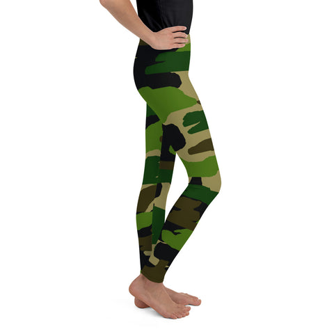 Girl Military Green Camouflage Active Wear Sports Gym Youth Leggings, Made in USA/EU-Youth's Leggings-Heidi Kimura Art LLC