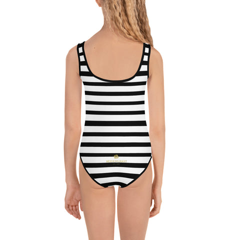 Horizontal Black White Stripe Print Cute Girl's Kids Swimsuit Swimwear- Made in USA-Kid's Swimsuit (Girls)-Heidi Kimura Art LLC