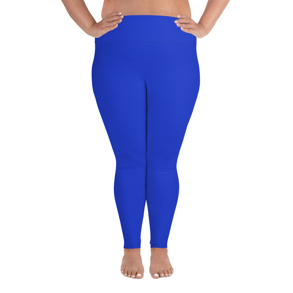 Cobalt Blue Solid Color Plus Size High Waist Long Women's Yoga Tights/ Leggings- Made in USA/EU-Women's Plus Size Leggings-2XL-Heidi Kimura Art LLC