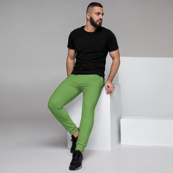 Green Designer Men's Joggers, Best Green Solid Color Sweatpants For Men, Modern Slim-Fit Designer Ultra Soft & Comfortable Men's Joggers, Men's Jogger Pants-Made in EU/MX (US Size: XS-3XL)
