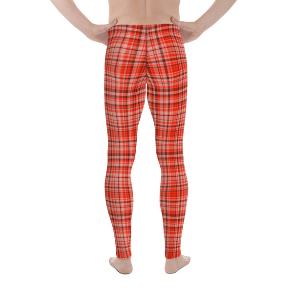 Red Plaid Tartan Print Elastic Fitted Stretchy High Waist Men's Leggings-Made in USA/EU-Men's Leggings-Heidi Kimura Art LLC