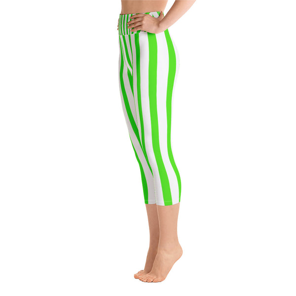 Lime Green White Vertical Striped Print Women's Yoga Capri Pants Leggings-Capri Yoga Pants-Heidi Kimura Art LLC Green Striped Yoga Capri Leggings, Lime Green White Vertical Striped Print Women's Yoga Capri Pants Leggings With Pockets Plus Size Available- Made In USA/EU (US Size: XS-XL)