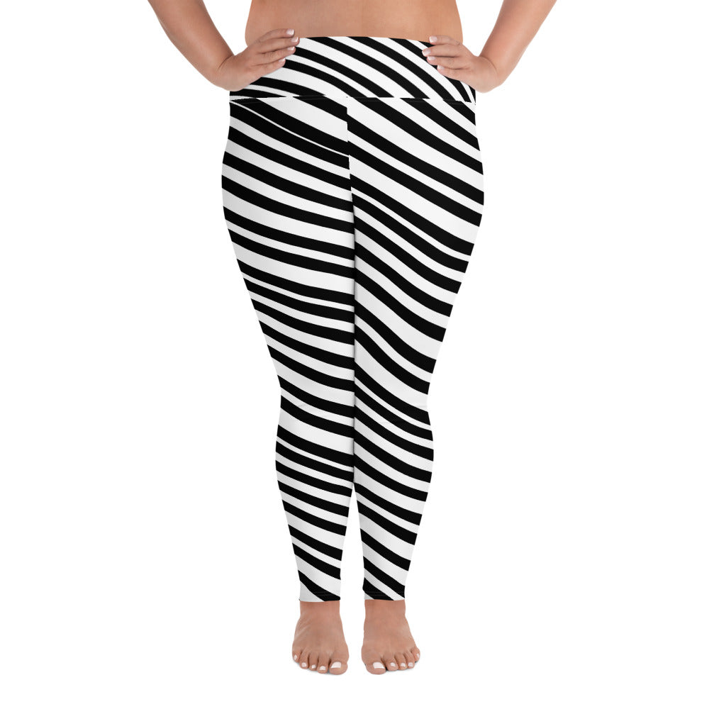 White & Black Diagonal Stripe Women's Plus Size Yoga Pants Leggings- Made in USA/ EU-Women's Plus Size Leggings-2XL-Heidi Kimura Art LLC
