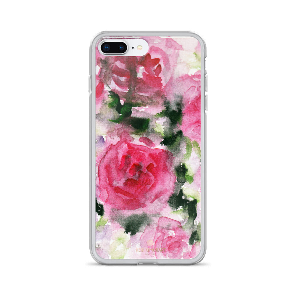 Pink Rose Floral Watercolor, iPhone X | XS | XR | XS Max | 8 | 8+ | 7| 7+ |6/6S | 6+/6S+ Case- Made in USA-Phone Case-iPhone 7 Plus/8 Plus-Heidi Kimura Art LLC