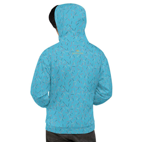 Light Blue Birthday Sprinkle Print Women's Unisex Hoodie Sweatshirt Pullover - Made in EU-Women's Hoodie-Heidi Kimura Art LLC