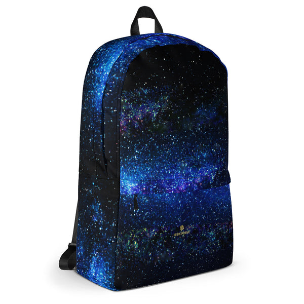Space Galaxy Blue Purple Print Premium Water Resistant Premium Backpack- Made in USA-Backpack-Heidi Kimura Art LLC