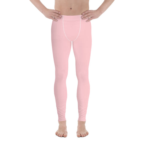 Light Pink Men's Leggings, Modern Pastel Minimalist Gay Friendly Meggings-Made in USA/EU-Heidi Kimura Art LLC-Heidi Kimura Art LLC Light Pink Men's Leggings, Pastel Pink Soft Sexy Meggings Men's Workout Gym Tights Leggings, Men's Compression Tights Pants - Made in USA/ EU (US Size: XS-3XL)