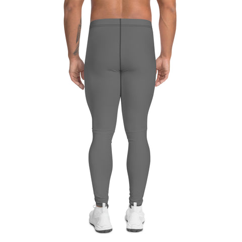 Concrete Gray Men's Leggings, Solid Color Basic Essential Men's Leggings Tights Pants - Made in USA/EU (US Size: XS-3XL)Sexy Meggings Men's Workout Gym Tights Leggings