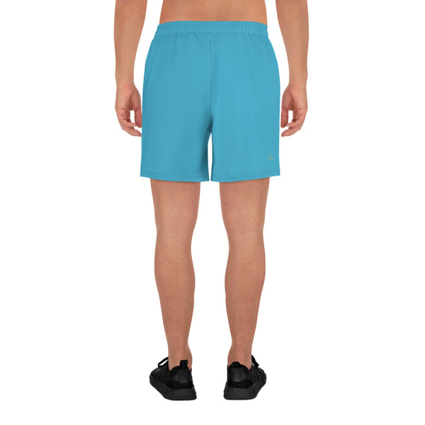 Sky Blue Solid Color Print Men's Athletic Long Shorts - Made in Europe (US Size: XS-3XL)-Men's Long Shorts-Heidi Kimura Art LLC