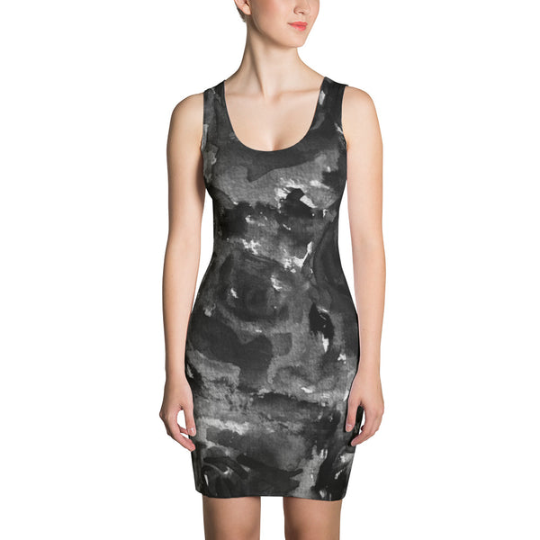 Black Zombie Rose Floral Print Women's Long Sleeveless Designer Dress - Made in USA-Women's Sleeveless Dress-XS-Heidi Kimura Art LLC Black Rose Floral Print Dress, Black Abstract Rose Floral Print Women's Long Sleeveless Designer Premium Dress - Made in USA/EU (US Size: XS-XL)