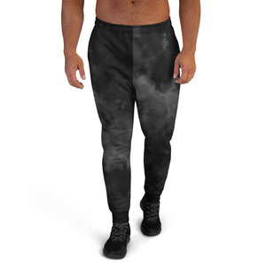 Black Abstract Men's Joggers, Clouds Print Premium Best Men's Sweatpants- Made in EU-Men's Joggers-XS-Heidi Kimura Art LLC