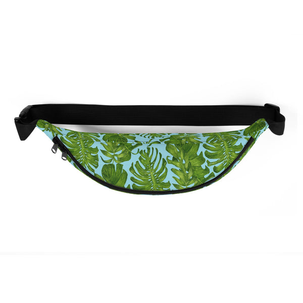 Light Blue Tropical Leaf Print Designer Fanny Pack Waist Belt Festival Bag- Made in USA-Fanny Pack-Heidi Kimura Art LLC