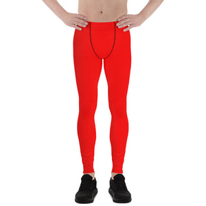 Red Hot Solid Color Men's Running Leggings Meggings Activewear- Made in USA/EU-Men's Leggings-XS-Heidi Kimura Art LLC