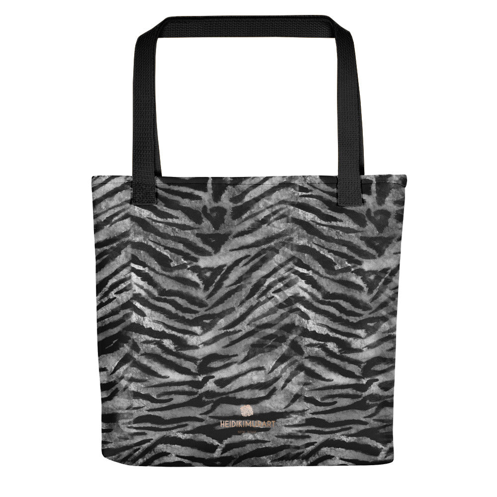 "Gray Tiger Striped Print Tote Bag, Grey Animal Print 15"" x 15"" Tote Bag-Made in USA/EU-Tote Bag-Black-Heidi Kimura Art LLC"