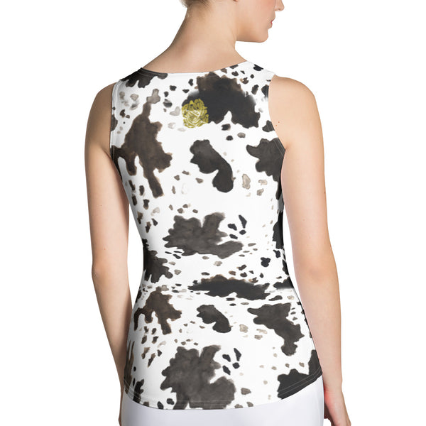 Cow Print Comfy Stretchy Soft Crew Neck Fitted Women's Tank Top, Made in USA-Tank Top-Heidi Kimura Art LLC