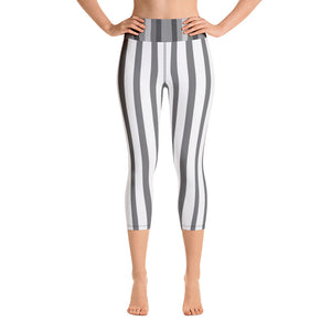 White Gray Vertical Striped Women's Yoga Capri Pants Leggings-Capri Yoga Pants-XS-Heidi Kimura Art LLC