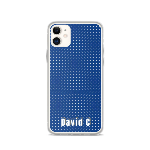 Blue Polka Dots Print Custom Names iPhone Case-Made in USA-Phone Case-iPhone 11-Heidi Kimura Art LLC