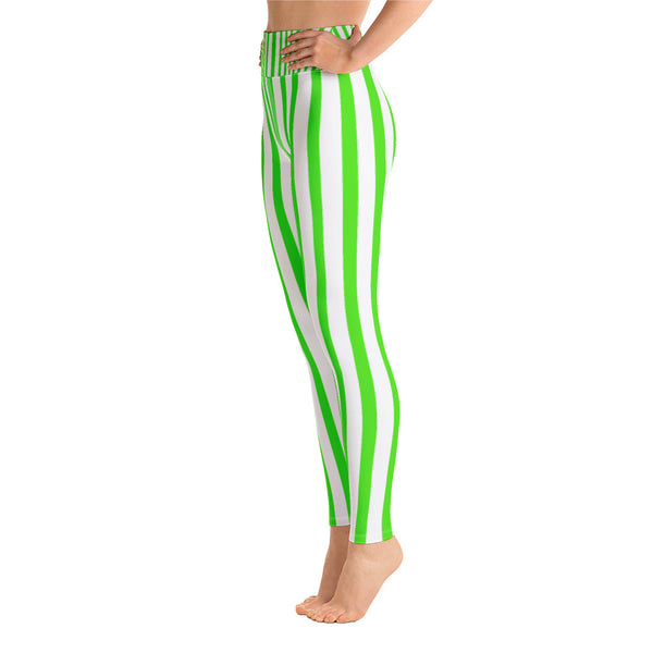 Women's Green & White Stripe Print Stretchy Comfy Long Yoga Pants - Made in USA-Leggings-Heidi Kimura Art LLC Green Striped Women's Yoga Pants, Women's Neon Green & White Stripe Active Wear Fitted Leggings Sports Long Yoga & Barre Pants, Festive Leggings - Made in USA (US Size: XS-XL)