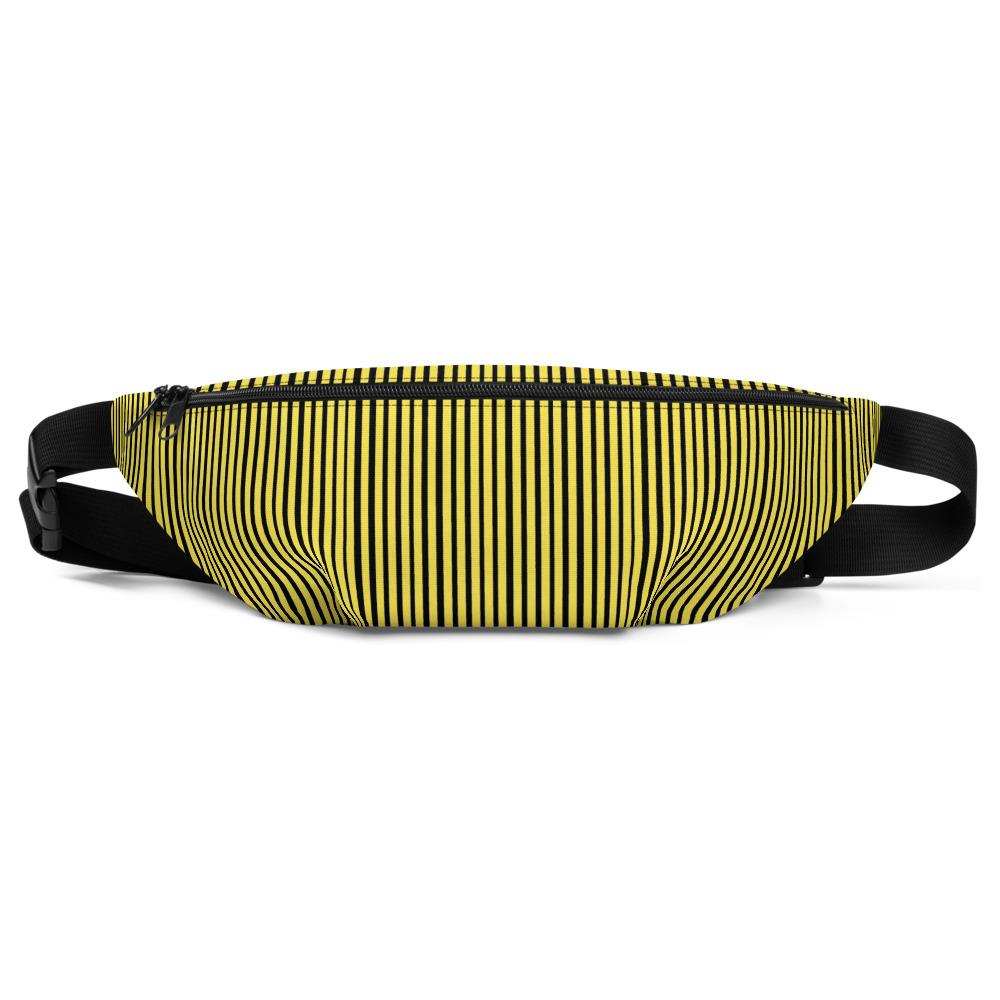Yellow Black Vertical Stripe Print Designer Premium Quality Unisex Water Repellent Best Festival Fanny Pack Mini Over The Shoulder Bag/ Hip Pack/ Belt Waist Bag With Adjustable Waist/ Shoulder Belts For Men/ Women - Made in USA/ Europe (Sizes: S, M, L)