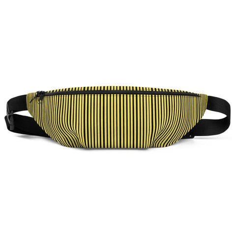 Yellow Black Vertical Stripe Print Premium Designer Fanny Pack Belt Bag - Made in USA-Fanny Pack-S/M-Heidi Kimura Art LLC