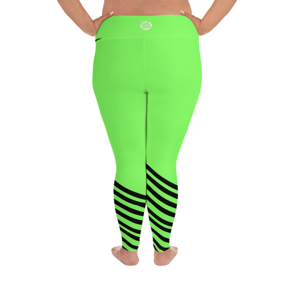 Neon Green Black Diagonal Stripe Women's Elastic Plus Size Leggings - Made in USA-Women's Plus Size Leggings-Heidi Kimura Art LLC