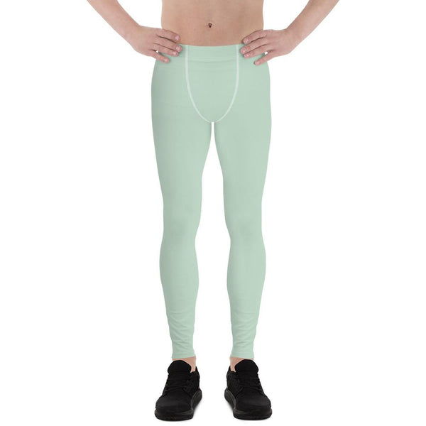 Pistachio Light Pastel Green Solid Color Best Meggings Men's Leggings-Made in USA/EU-Men's Leggings-XS-Heidi Kimura Art LLC