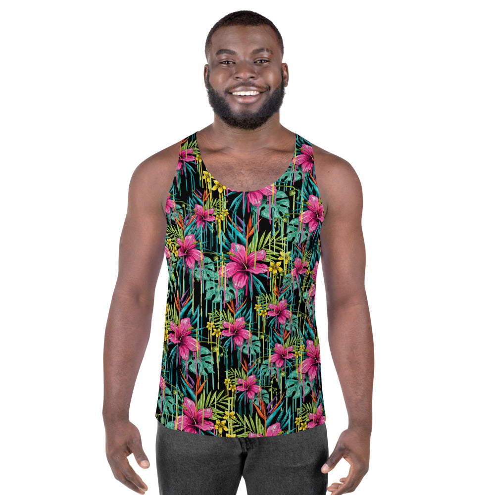 Tropical Floral Unisex Tank Top, Pink Flower Men's Tank-Made in USA/EU-Heidi Kimura Art LLC-XS-Heidi Kimura Art LLC